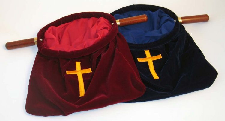 Offering Bag w/Cross Red XL - Shalom