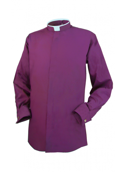 Clerical Shirt: Men Tonsure Collar Double Cuff L/S Purple - Reliant Shirts