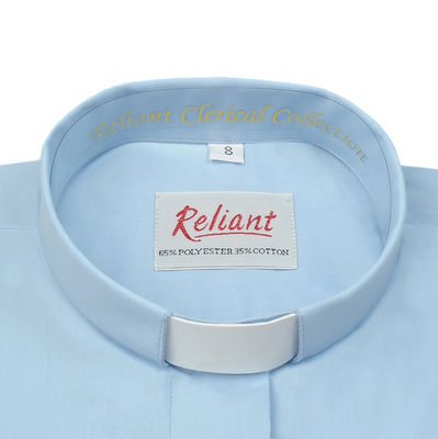 """Clerical Shirt: Women 1"""" Slip-in Collar L/S Sky Blue - Radiant Shirts"""