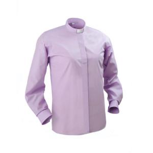 "Clerical Shirt: Women 1"" Slip-in Collar L/S Lilac - Kevin Mayhew"