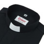 "Clerical Shirt: Men 1"" Slip-in Collar L/S Black  – Reliant Shirts"