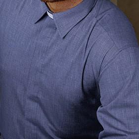 Clerical Shirt: Men Twill Weave Full Collar L/S Light Blue - Kevin Mayhew