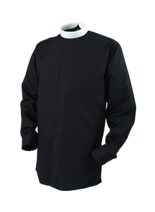 Clerical Shirt: Men Banded Collar L/S Black – Reliant Shirts