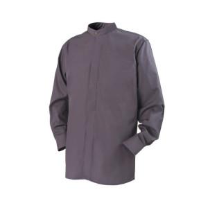 Clerical Shirt: Men Banded Collar L/S Dark Grey – Reliant Shirts
