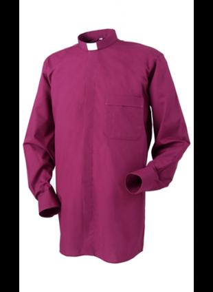 "Clerical Shirt: Men 1"" Slip-in Collar L/S Purple – Reliant Shirts"