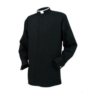 Clerical Shirt- Men Tonsure Collar Double Cuff L/S Black - Reliant Shirts