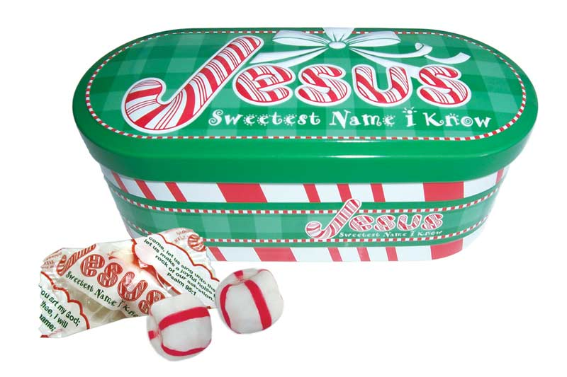 JESUS Sweet Name I Know Christmas Tin w/Candy - Scripture Candy Inc